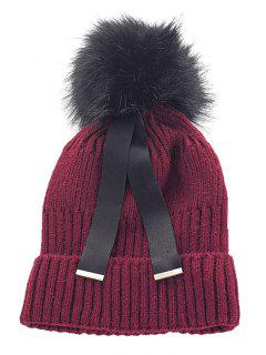 Outdoor Fuzzy Ball Embellished Knitted Ribbon Beanie - Red