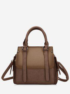 Contrasting Color PU Leather Handbag With Strap - Brown