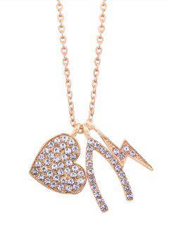 Rhinestoned Heart Lightning Chain Pendant Necklace - Golden