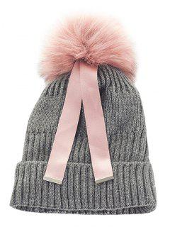 Outdoor Fuzzy Ball Embellished Knitted Ribbon Beanie - Gray