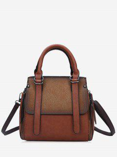 Contrasting Color PU Leather Handbag With Strap - Coffee