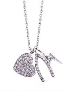 Rhinestoned Heart Lightning Chain Pendant Necklace - Silver
