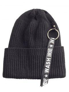 Letter Printing Label Embellished Flanging Knitted Beanie - Black
