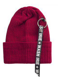 Letter Printing Label Embellished Flanging Knitted Beanie - Wine Red