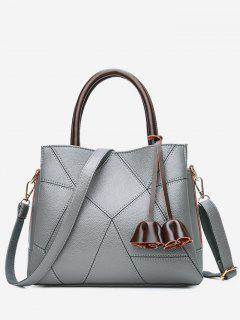 Stitching Geometric PU Leather Handbag - Gray