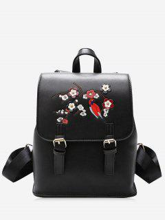PU Leather Flower Embroidery Backpack - Black
