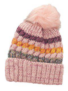 Outdoor Striped Pattern Fuzzy Ball Knitted Beanie - Pink