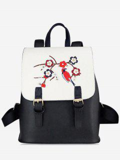 PU Leather Flower Embroidery Backpack - White