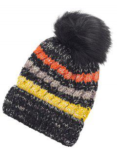 Outdoor Striped Pattern Fuzzy Ball Knitted Beanie - Black