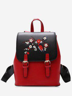 PU Leather Flower Embroidery Backpack - Red