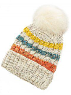 Outdoor Striped Pattern Fuzzy Ball Knitted Beanie - Beige