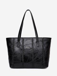 PU Leather Braid Stitching Shoulder Bag - Black