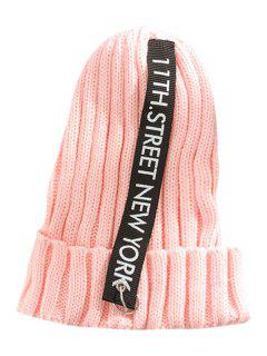 Letter Printing Label Decorated Knitted Rings Beanie - Pink