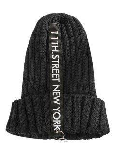 Letter Printing Label Decorated Knitted Rings Beanie - Black