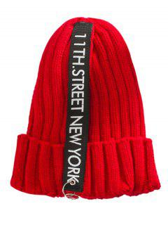 Letter Printing Label Decorated Knitted Rings Beanie - Red