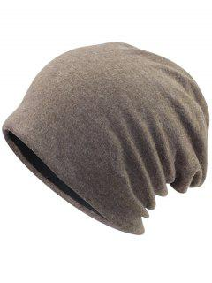 Simple Two Layers Thicken Slouchy Beanie - Light Coffee