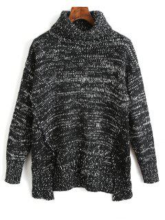 Turtleneck Slit High Low Sweater - Black