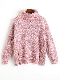 Rollkragenpullover Mit Tiefem Ausschnitt - Pink