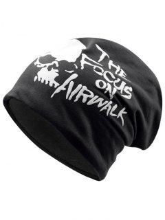 Skull And Letter Pattern Two Layers Lightweight Beanie - Black