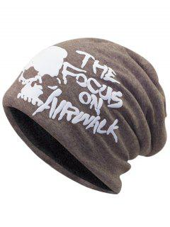 Skull And Letter Pattern Two Layers Lightweight Beanie - Light Coffee