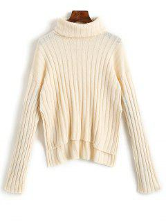 Side Slit High Low Turtleneck Sweater - Apricot