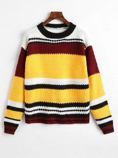 Suéter De Punto Flojo Contraste - Amarillo