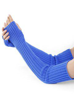 Vertical Striped Pattern Knitted Arm Warmers - Blue