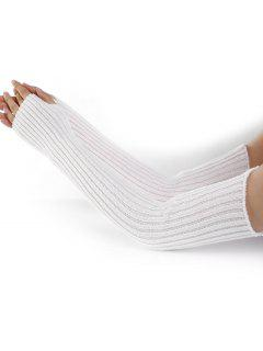 Vertical Striped Pattern Knitted Arm Warmers - White