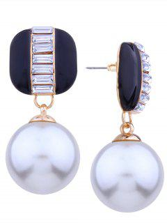 Alloy Rhinestone Faux Pearl Earrings - Black