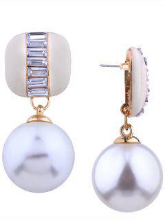 Alloy Rhinestone Faux Pearl Earrings - Off-white