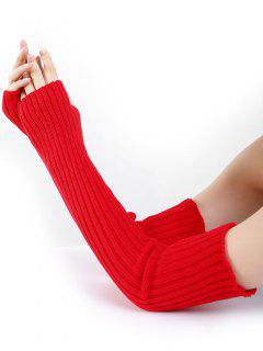 Vertical Striped Pattern Knitted Arm Warmers - Red