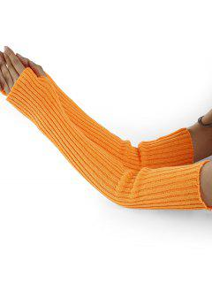 Vertical Striped Pattern Knitted Arm Warmers - Pearl Kumquat