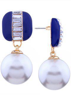 Alloy Rhinestone Faux Pearl Earrings - Blue