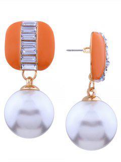 Pendientes De Aleación De Imitación De Perlas De Diamantes De Imitación - Naranja
