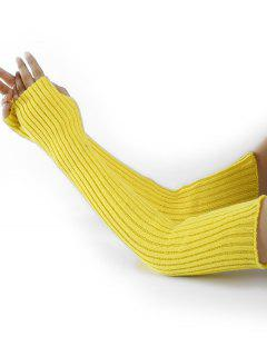 Vertical Striped Pattern Knitted Arm Warmers - Fluorescent Yellow