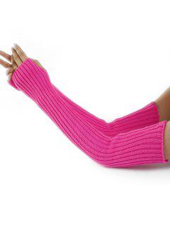 Vertical Striped Pattern Knitted Arm Warmers - Sangria