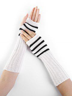 Striped Pattern Decoration Crochet Knitted Fingerless Gloves - White