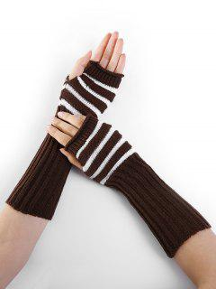 Striped Pattern Decoration Crochet Knitted Fingerless Gloves - Coffee