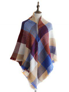 Plaid Pattern Fringed Edge Decoration Shawl Scarf - Multi