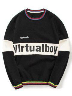 Color Block Letter Sweatshirt - Black L