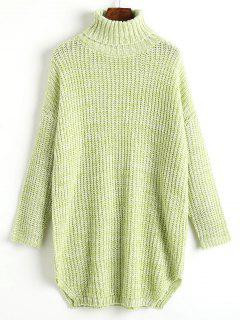 Heathered Side Slit Turtleneck Sweater - Light Green