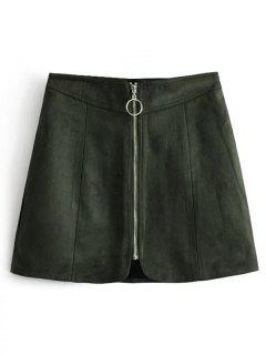 Zip Up Faux Suede A Line Skirt - Army Green M