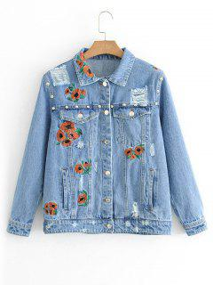 Ripped Button Up Floral Embroidered Jean Jacket - Denim Blue L