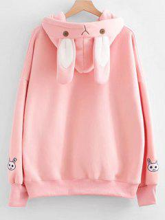 Rabbit Patches Contrast Ribbon Hoodie - Pink
