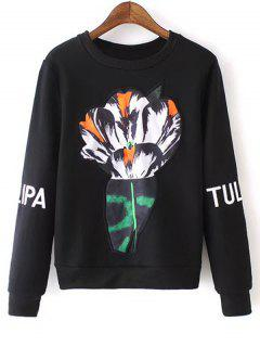 Letter Embroidered Sleeve Floral Sweatshirt - Black L
