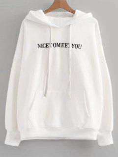 Oversized Drawstring Letter Embroidered Hoodie - White
