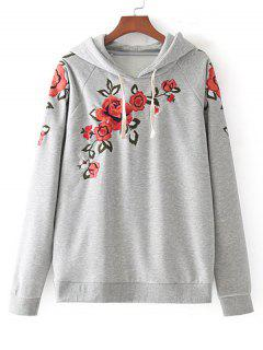 Drawstring Floral Embroidered Hoodie - Gray L