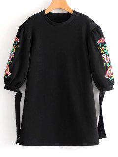 Fliegen Riemen Ärmel Blumen Bestickt Minikleid - Schwarz S