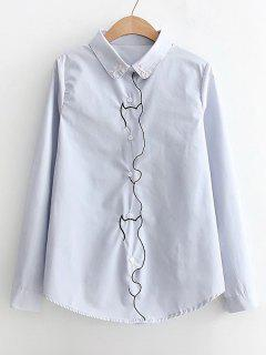 Piped Button Down Embroidered Shirt - Light Blue M