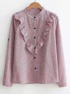 Button Down Ruffles Stripes Shirt - Wine Red M